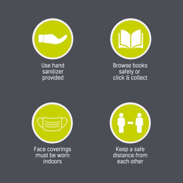 Sanitize hands, browse safely or use click and collect, wear a face covering, keep a safe distance from others