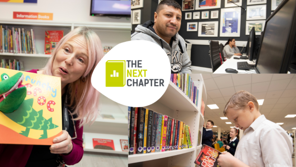 Storyteller, books, computer in libraries
