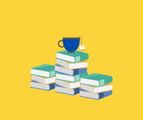 Tea cup on pile of books