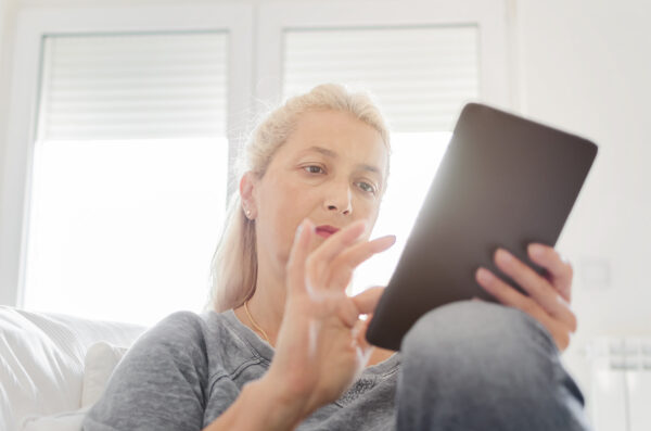 lady using tablet