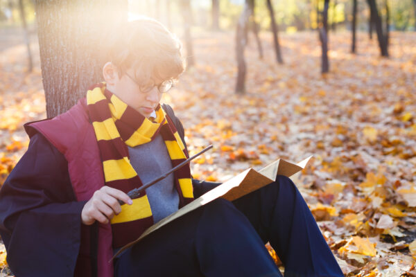 handsome boy in round glasses sits in the beautiful autumn park with gold leaves, holds wand in his hand, wears in black suit and stripped scarf on the bokeh background. Halloween costume, cosplay