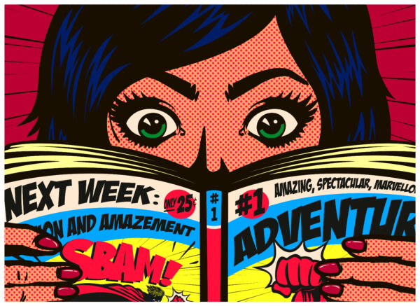 Pop art comics style excited girl having fun reading comic book or graphic novel adventure action vector illustration