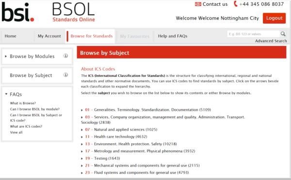British Standards online webpage