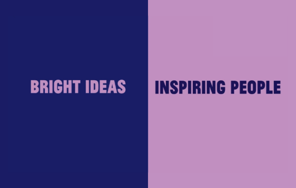 Bright Ideas - Inspiring People. Text on two tone background.
