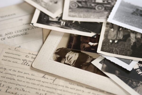 Old photos indistinct with old hand completed forms