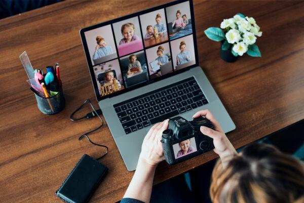 woman editing photos on laptop